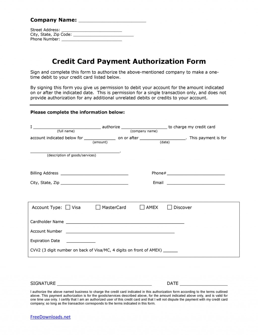 007 Astounding One Time Credit Card Payment Authorization Form Template Example Large