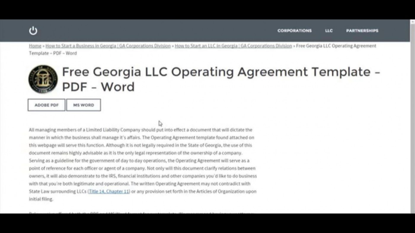 007 Astounding Operation Agreement Llc Template High Definition  Operating Florida Indiana Single Member California1400