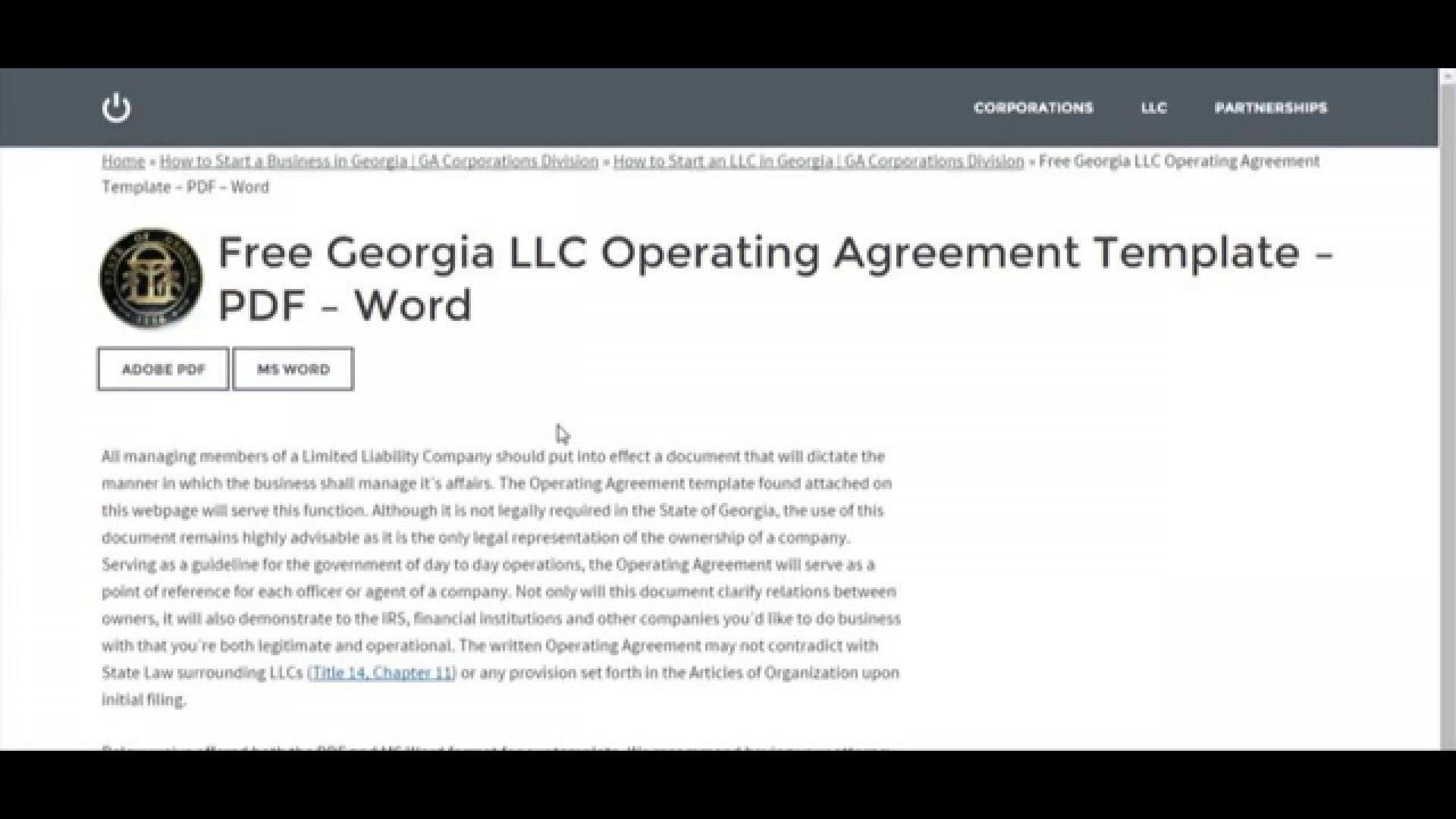 007 Astounding Operation Agreement Llc Template High Definition  Operating Florida Indiana Single Member California1920