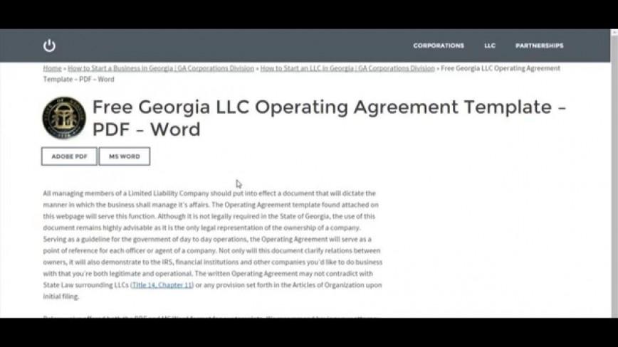 007 Astounding Operation Agreement Llc Template High Definition  Operating Florida Indiana Single Member California868