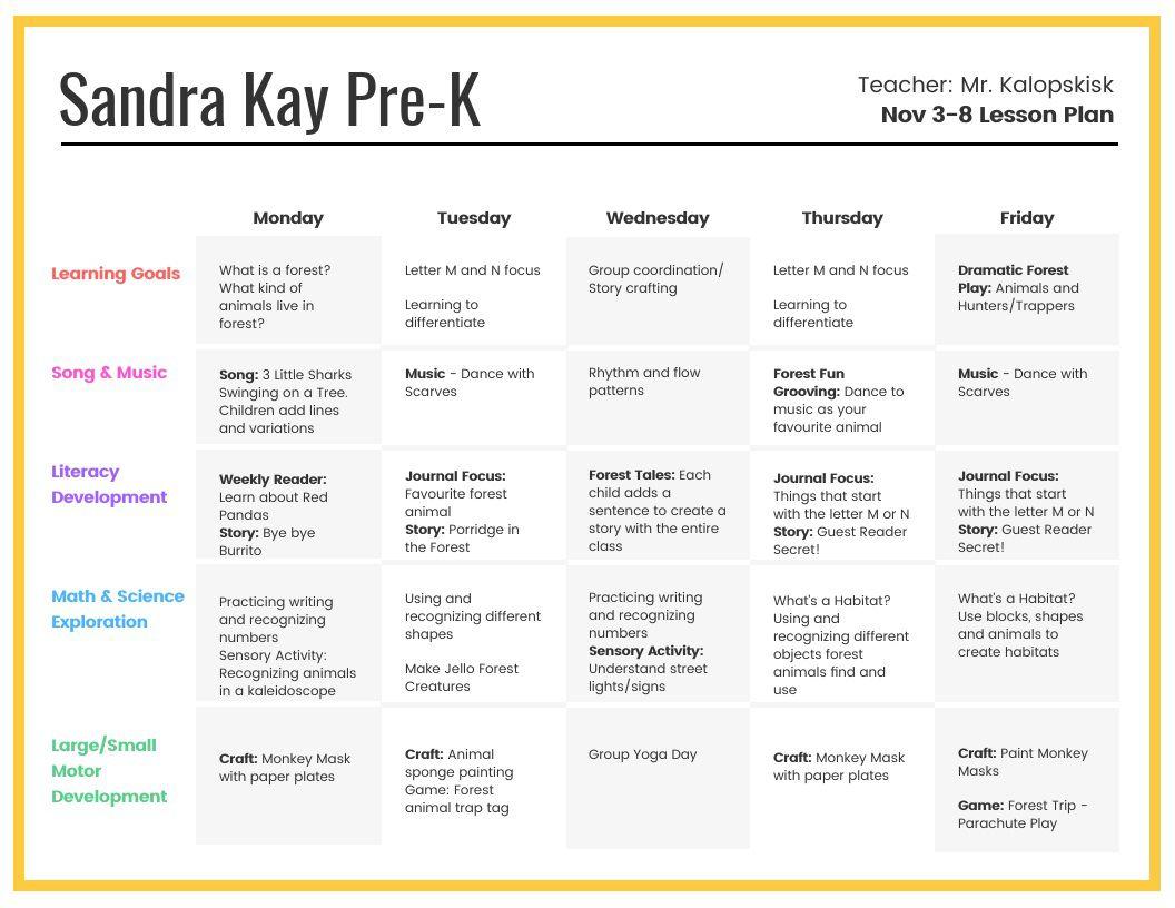 007 Astounding Preschool Weekly Lesson Plan Template High Resolution  Editable Pdf WordFull