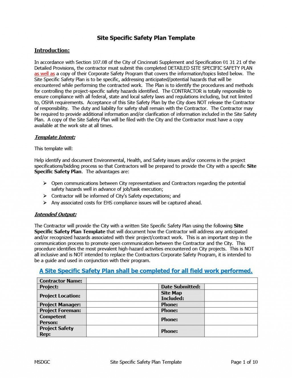 007 Astounding Site Specific Safety Plan Checklist Example Concept Large