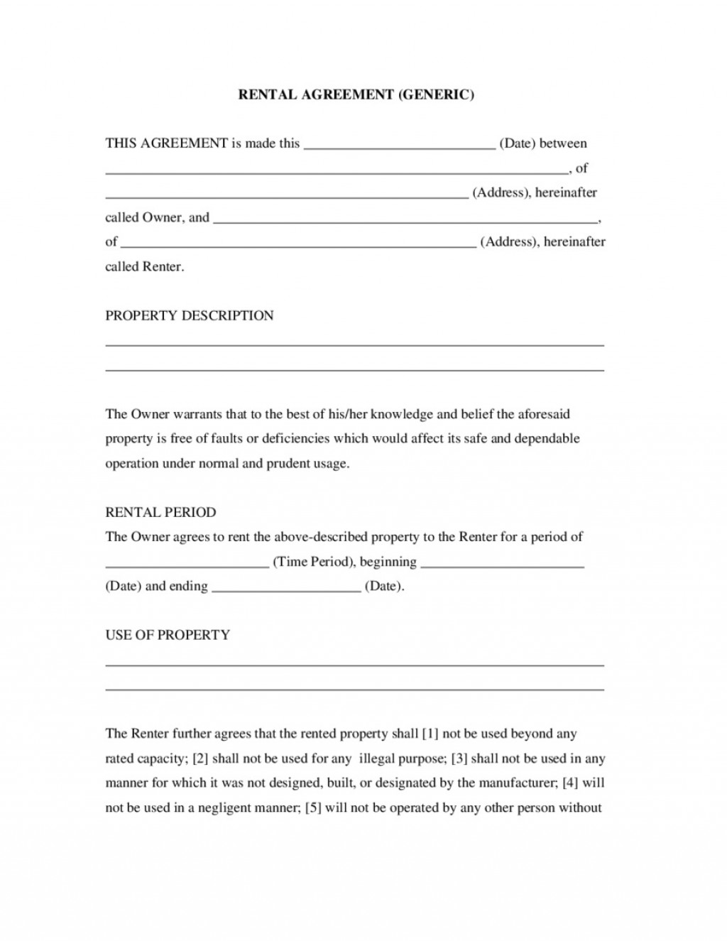 007 Awesome Basic Rental Agreement Template Sample  Simple Word Tenancy FreeLarge