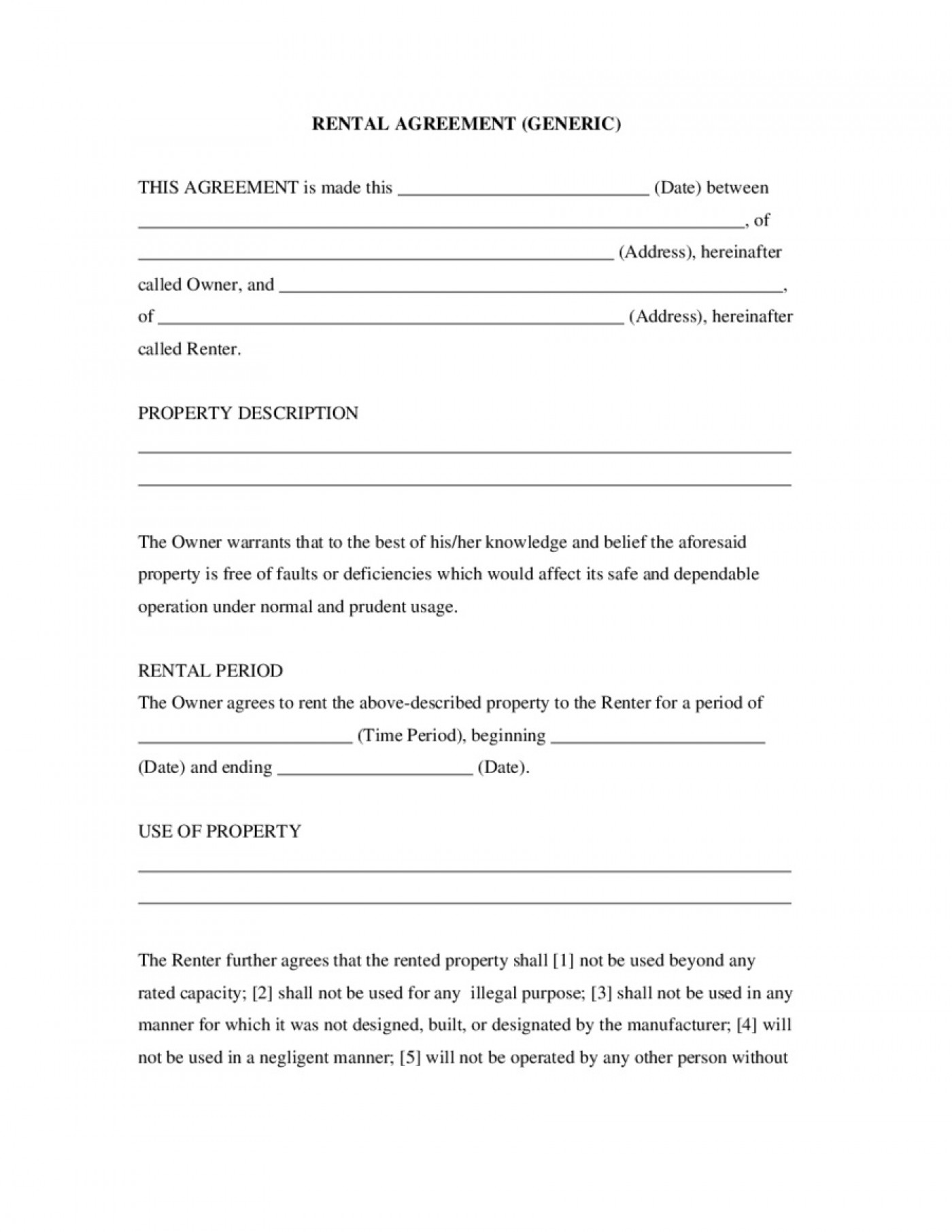 007 Awesome Basic Rental Agreement Template Sample  Simple Word Tenancy Free1400