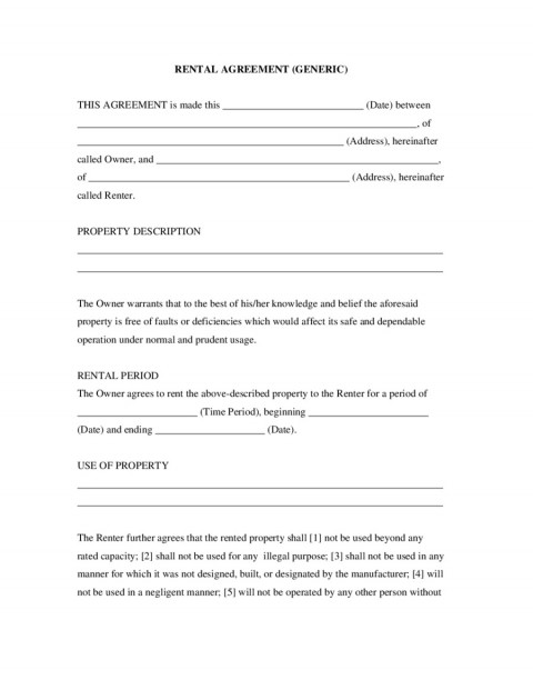 007 Awesome Basic Rental Agreement Template Sample  Simple Word Tenancy Free480