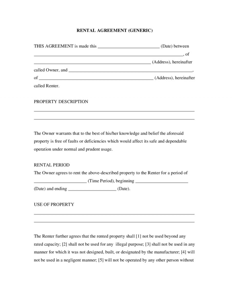007 Awesome Basic Rental Agreement Template Sample  Simple Word Tenancy Free960