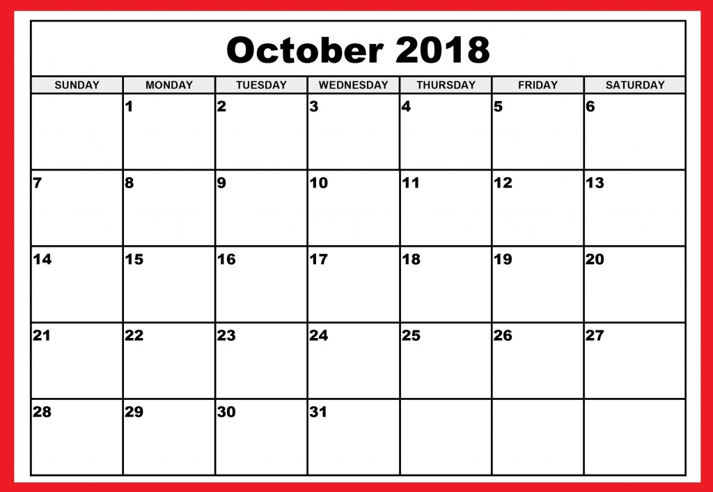 007 Awesome Calendar Template October 2018 Word High Def Large