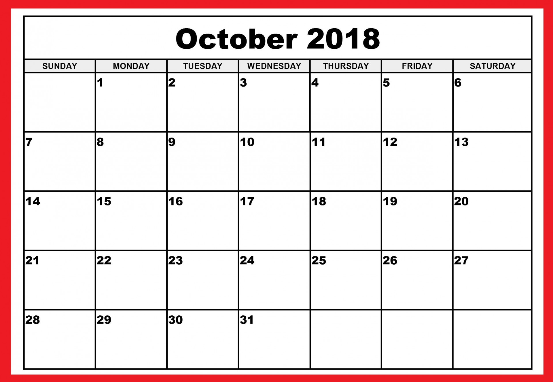 007 Awesome Calendar Template October 2018 Word High Def 1920