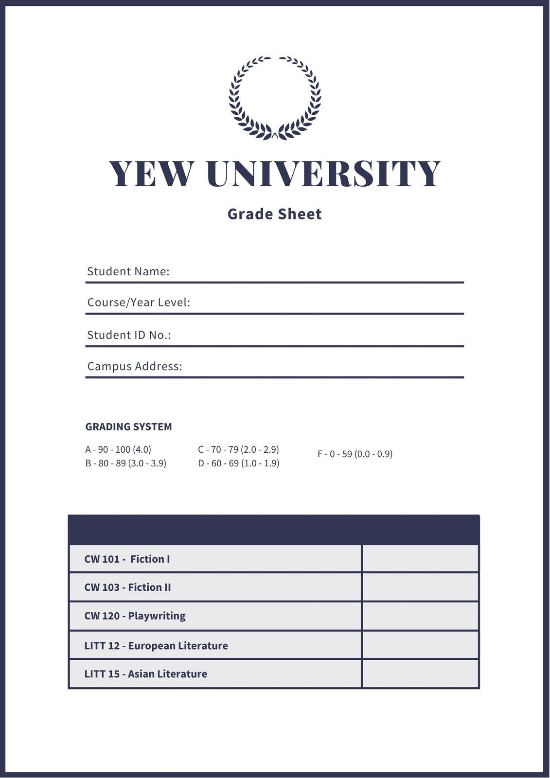 007 Awesome College Report Card Template High Definition  Free FakeFull