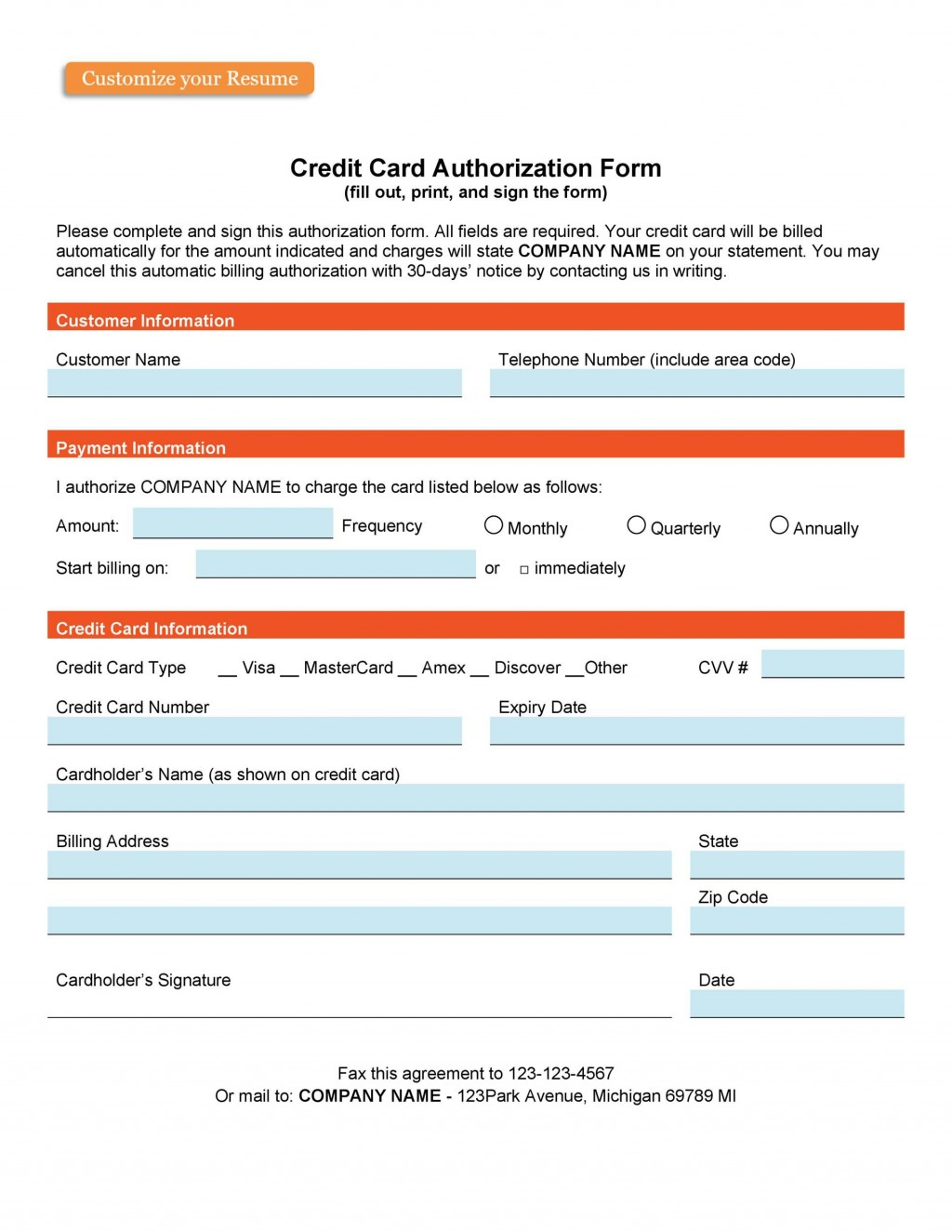 007 Awesome Credit Card Payment Form Template Pdf Highest Clarity  AuthorizationLarge