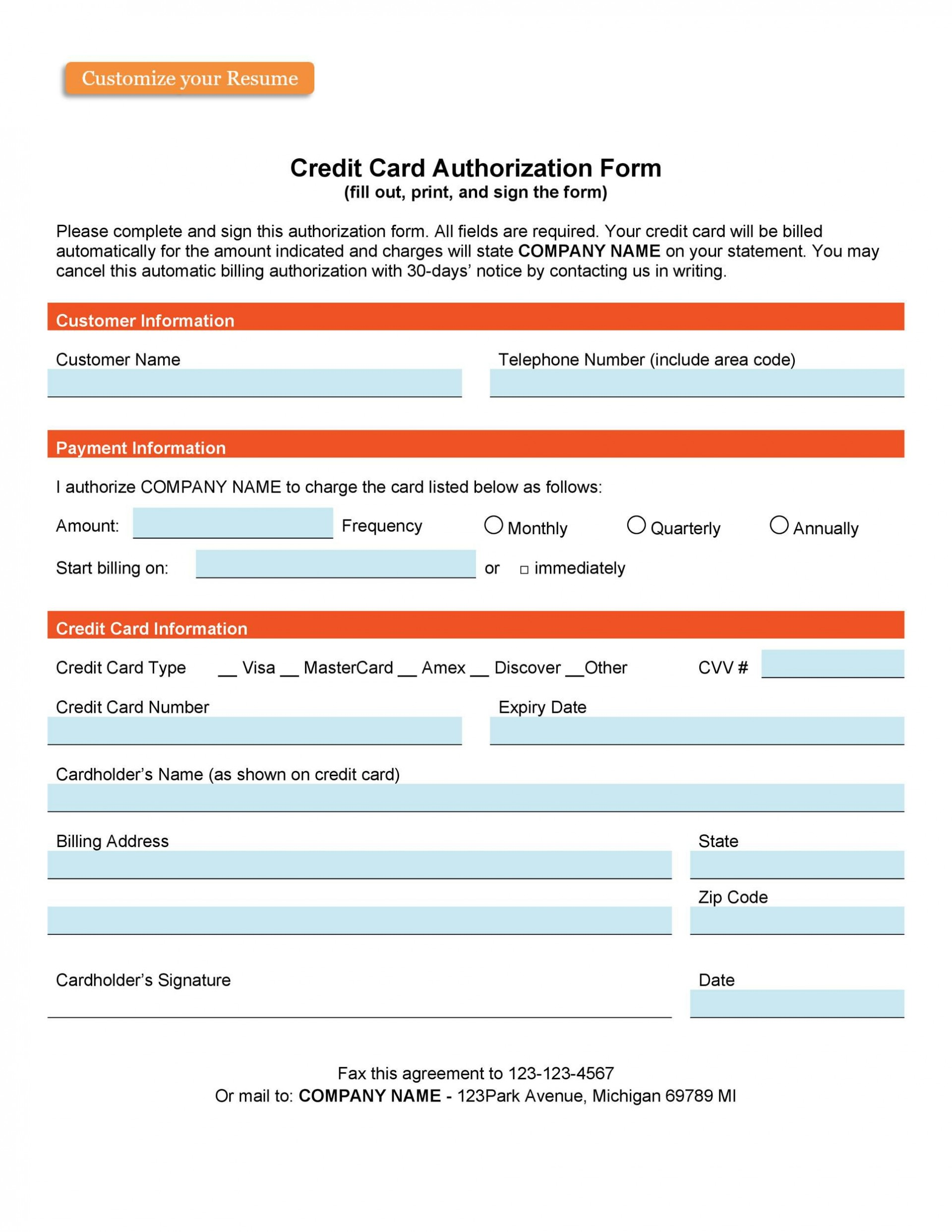 007 Awesome Credit Card Payment Form Template Pdf Highest Clarity  Authorization1920