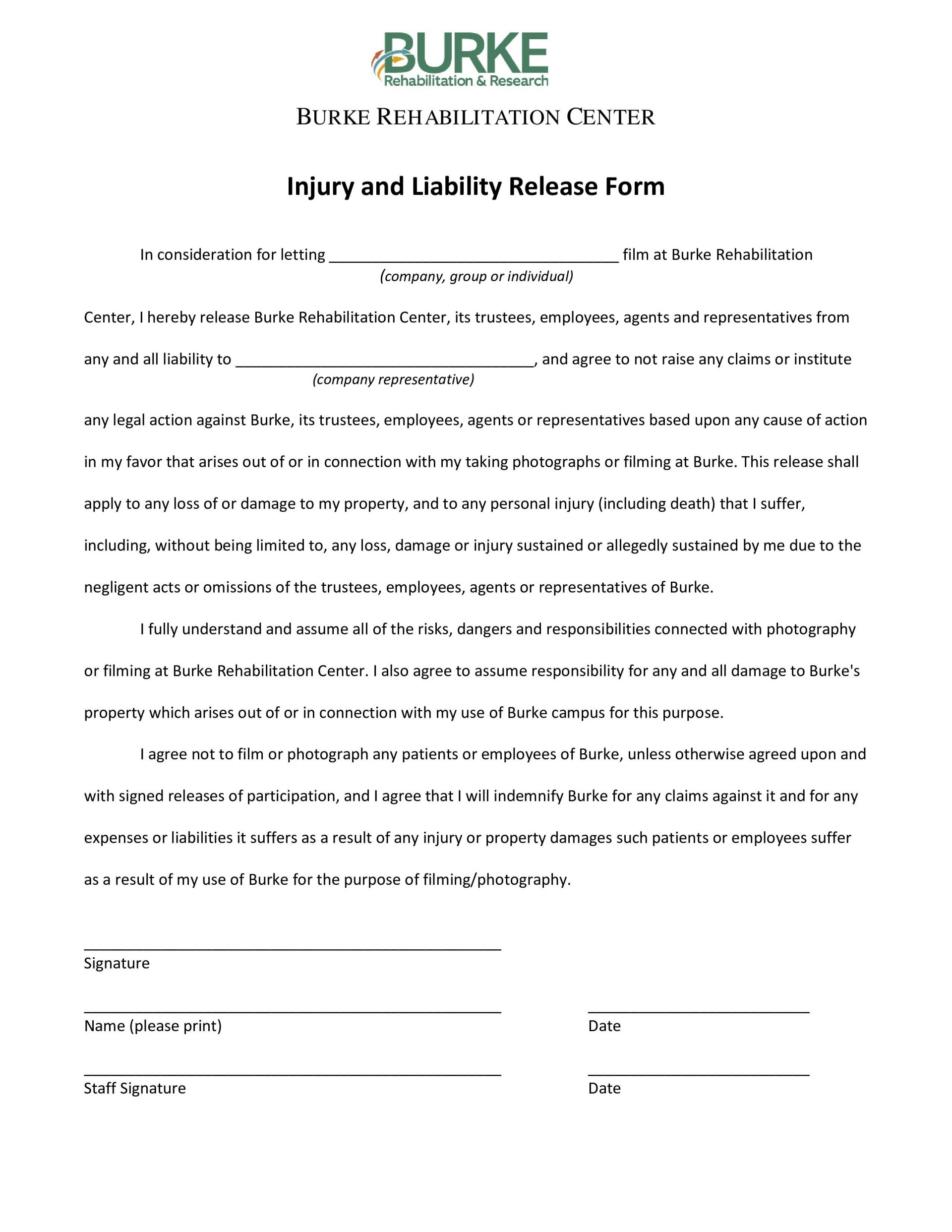 007 Awesome Liability Release Form Template Design  General Waiver Church Free1920