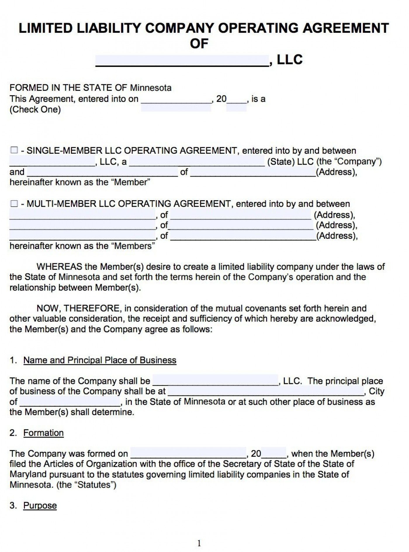 007 Awesome Llc Partnership Agreement Template High Resolution  Free Operating1400
