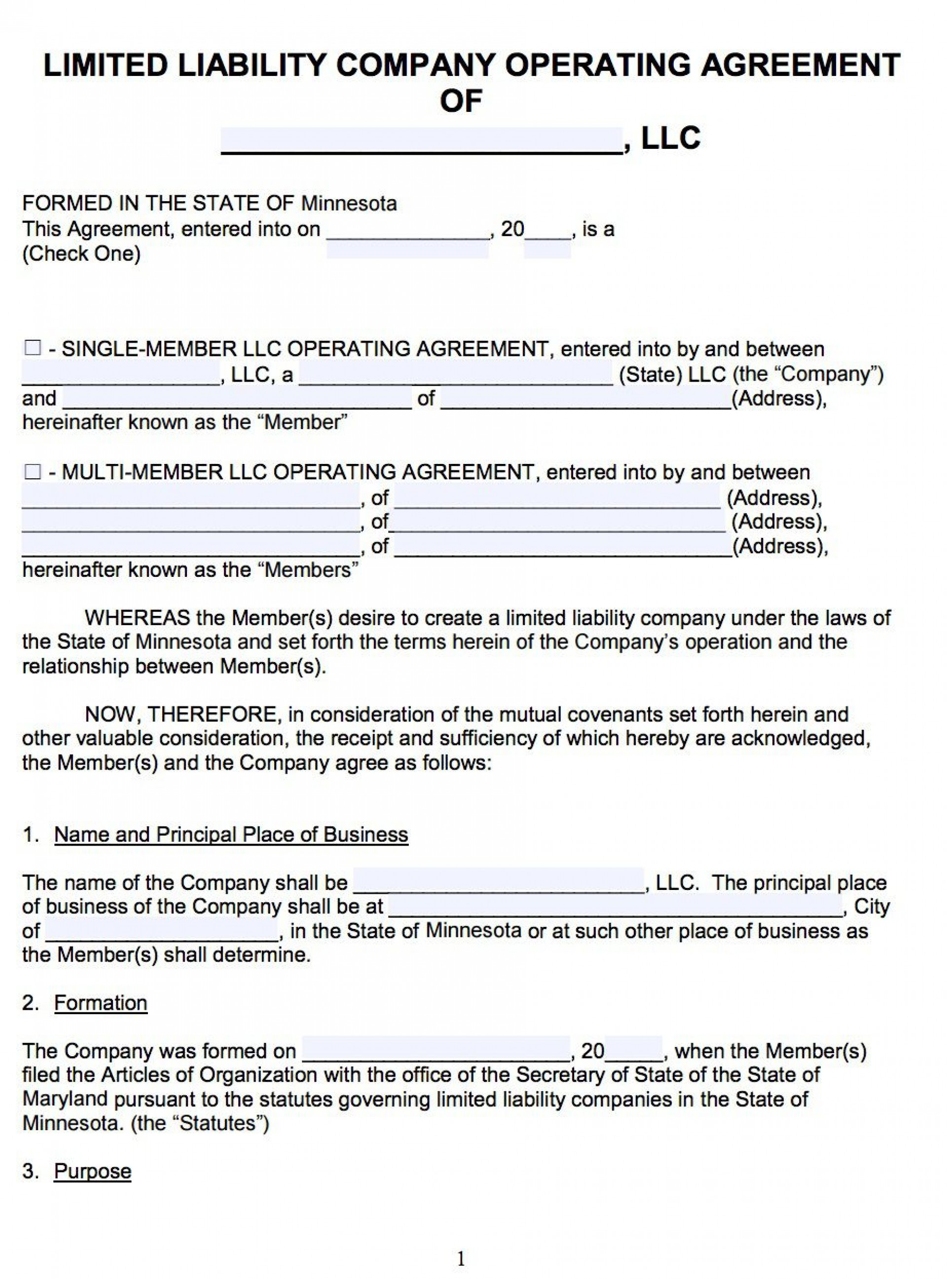 007 Awesome Llc Partnership Agreement Template High Resolution  Free Operating1920