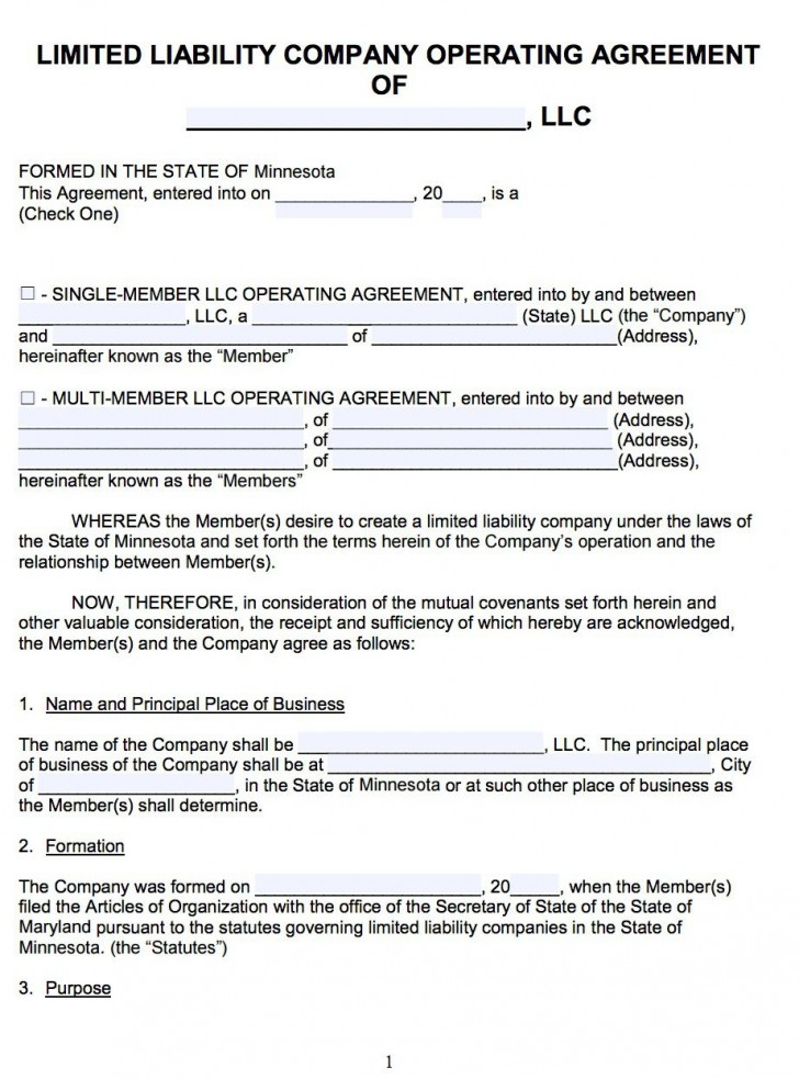 007 Awesome Llc Partnership Agreement Template High Resolution  Free Operating728