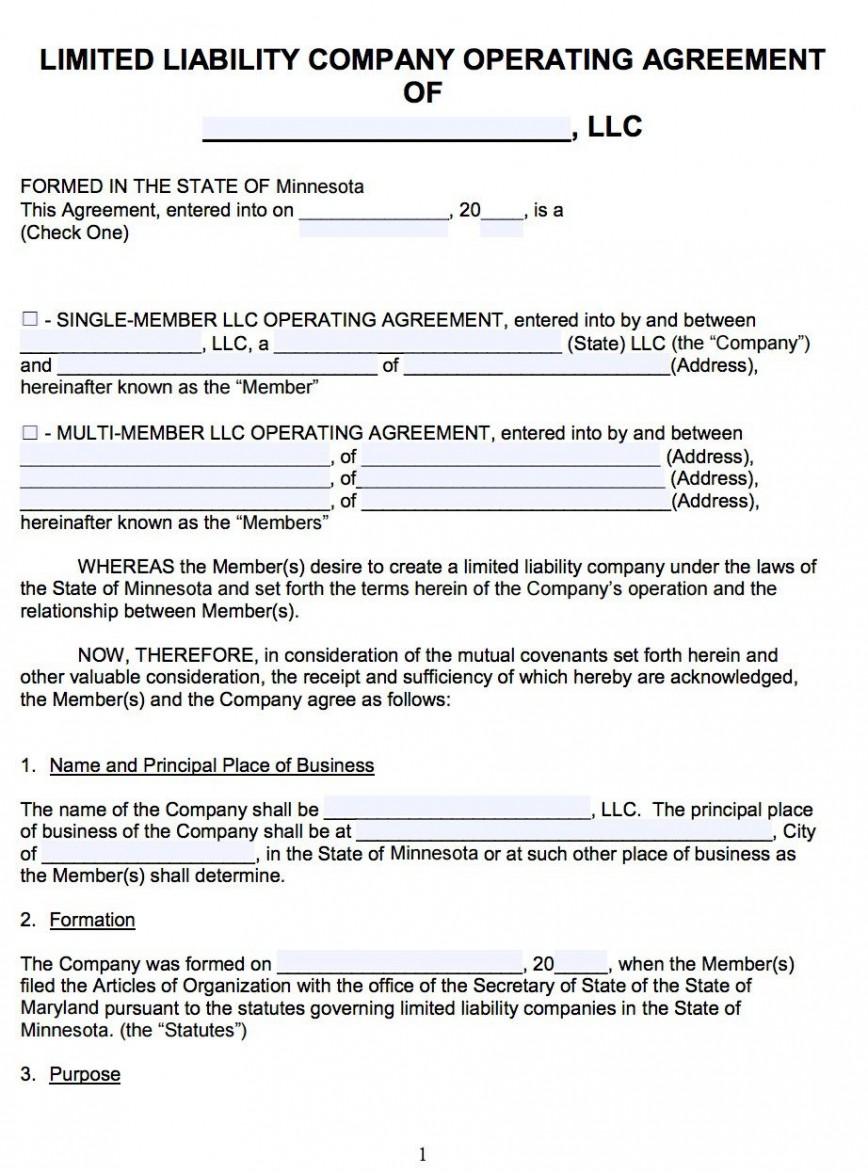 007 Awesome Llc Partnership Agreement Template High Resolution  Free Operating868