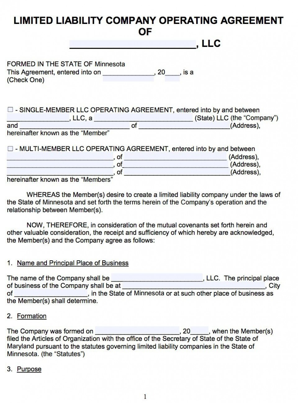 007 Awesome Llc Partnership Agreement Template High Resolution  Free Operating960
