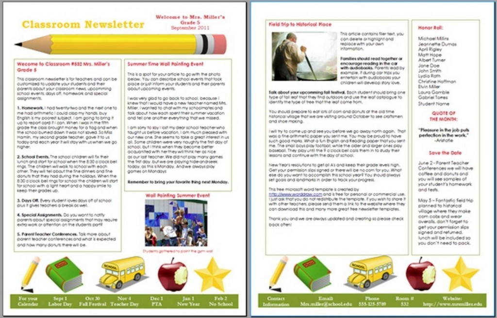 007 Awesome Microsoft Publisher Newsletter Template Image  School Free DownloadLarge