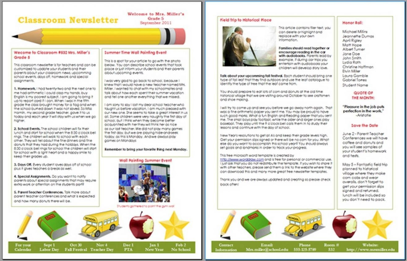 007 Awesome Microsoft Publisher Newsletter Template Image  School Free DownloadFull