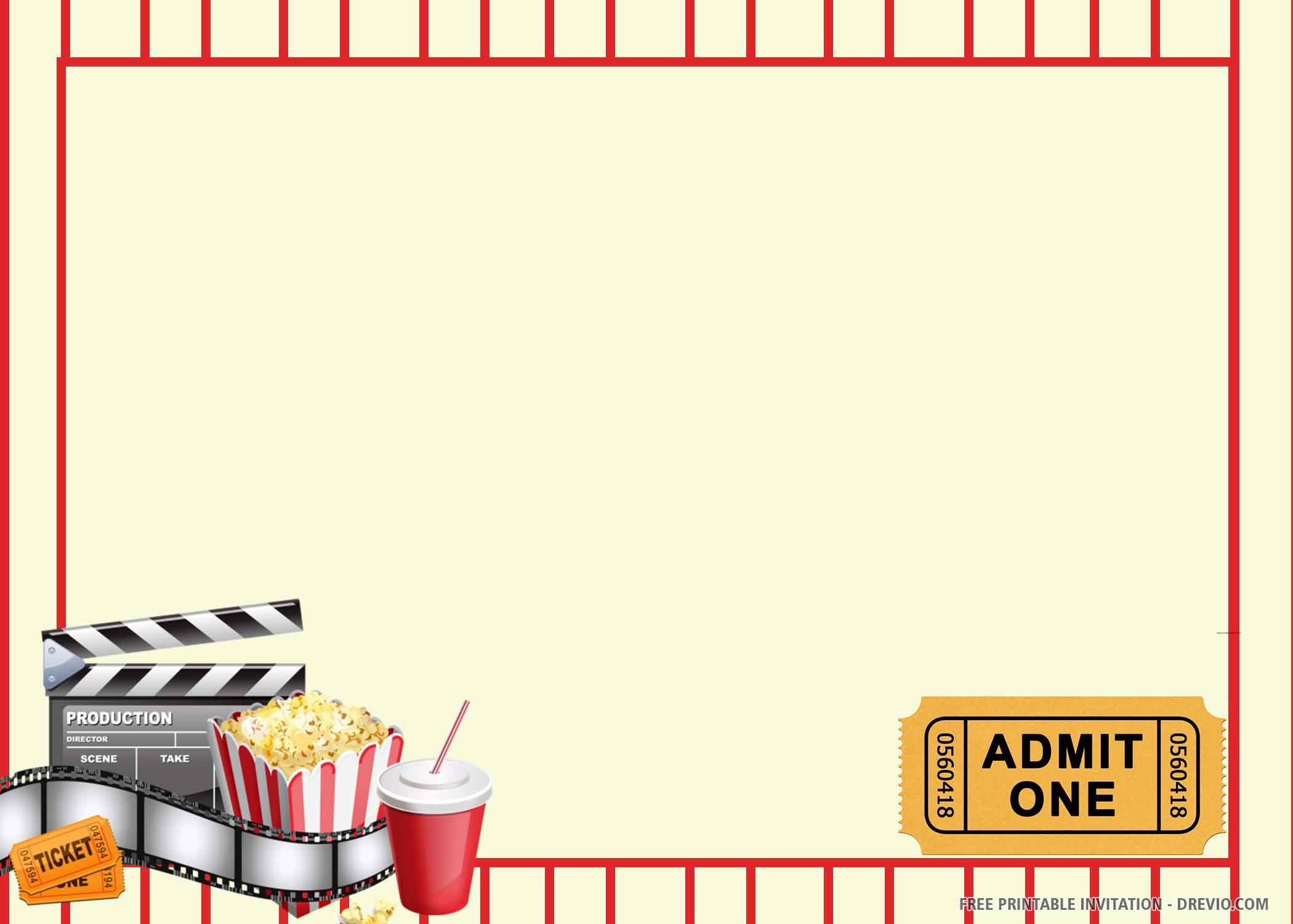 007 Awesome Movie Ticket Invitation Template High Resolution  Blank Free Download Editable PrintableFull