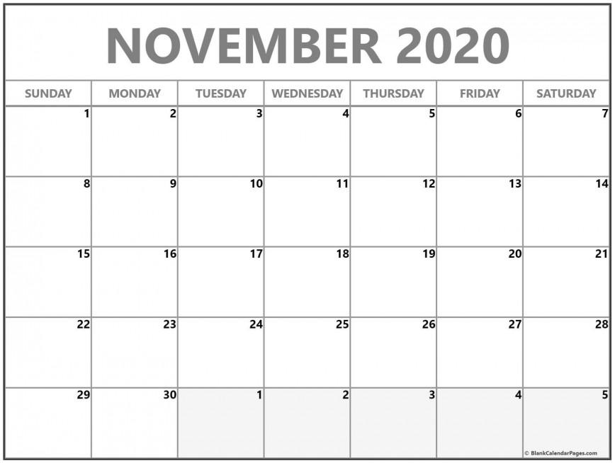 007 Awesome Printable Calendar Template November 2020 Photo  Free