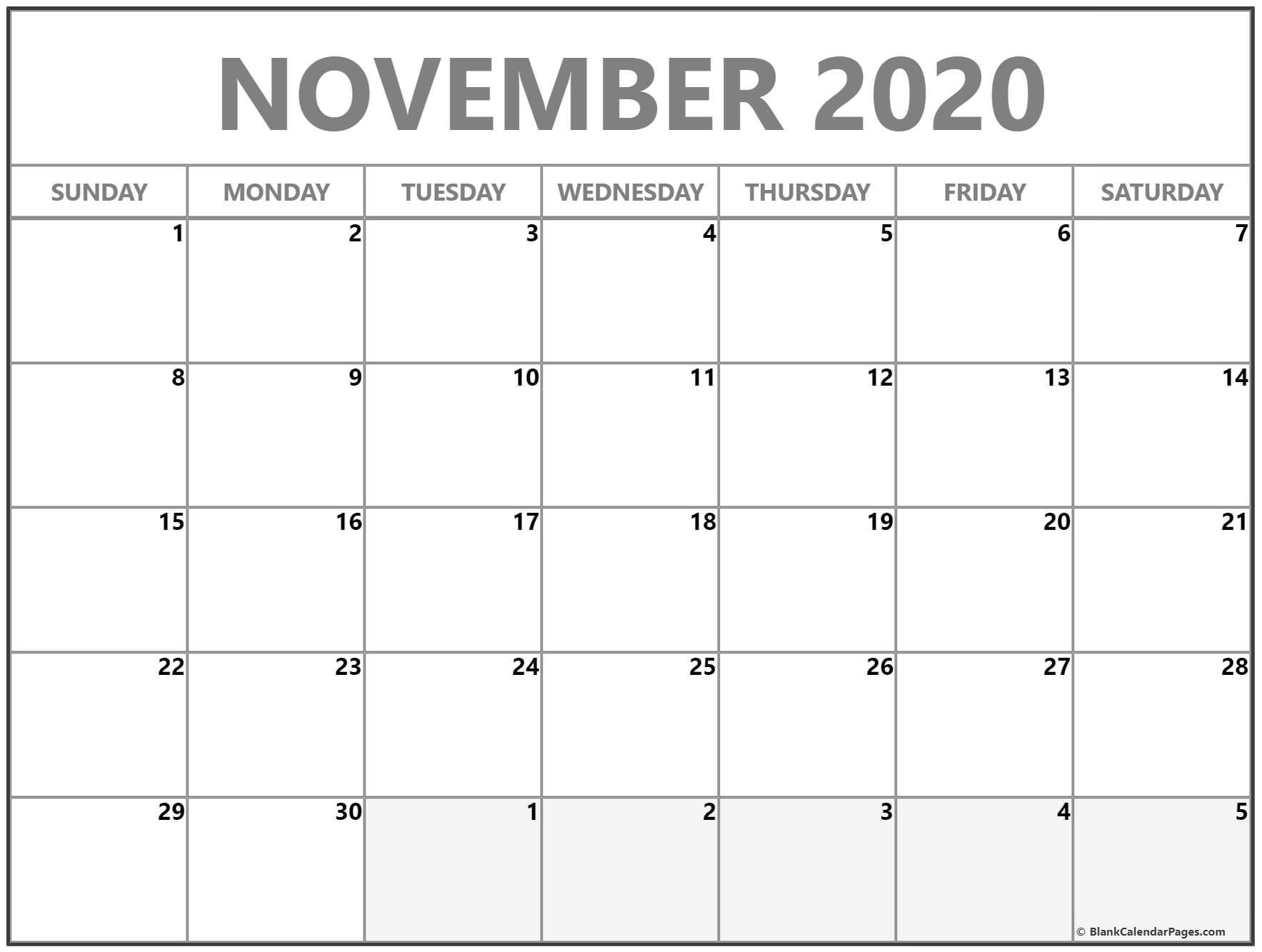 007 Awesome Printable Calendar Template November 2020 Photo  FreeFull
