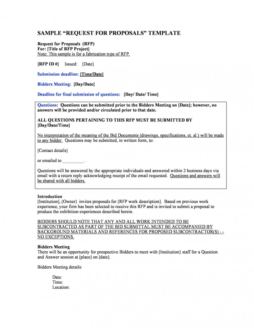 007 Awesome Request For Proposal Rfp Template Construction Picture