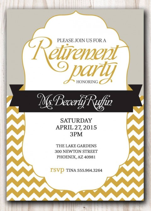 007 Awesome Retirement Invitation Template Free Highest Quality  Party Printable For Word480
