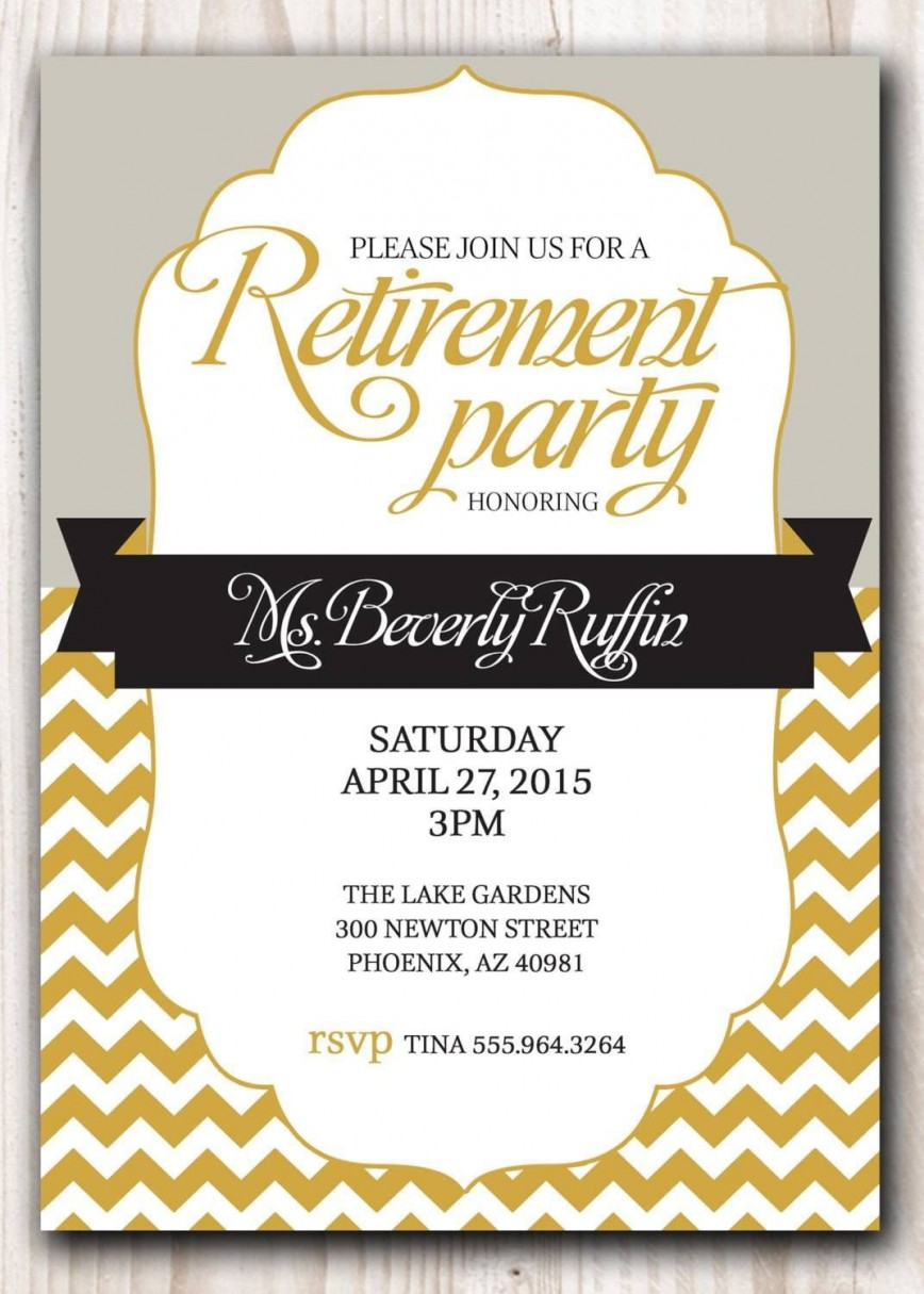 007 Awesome Retirement Invitation Template Free Highest Quality  Party Printable For Word868