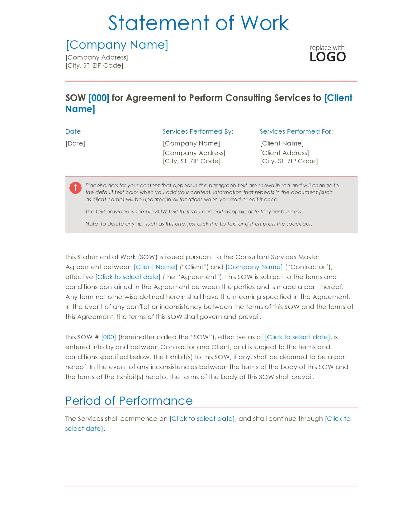 007 Awesome Sample Statement Of Work For Consulting Service High Def  Services ExampleFull