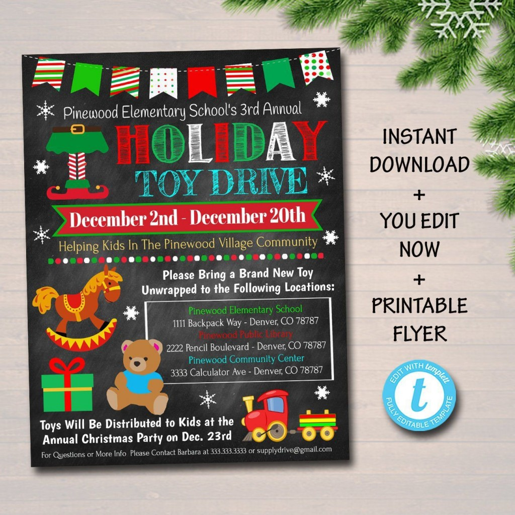 007 Awesome Toy Drive Flyer Template Sample  Holiday Download Free WordLarge