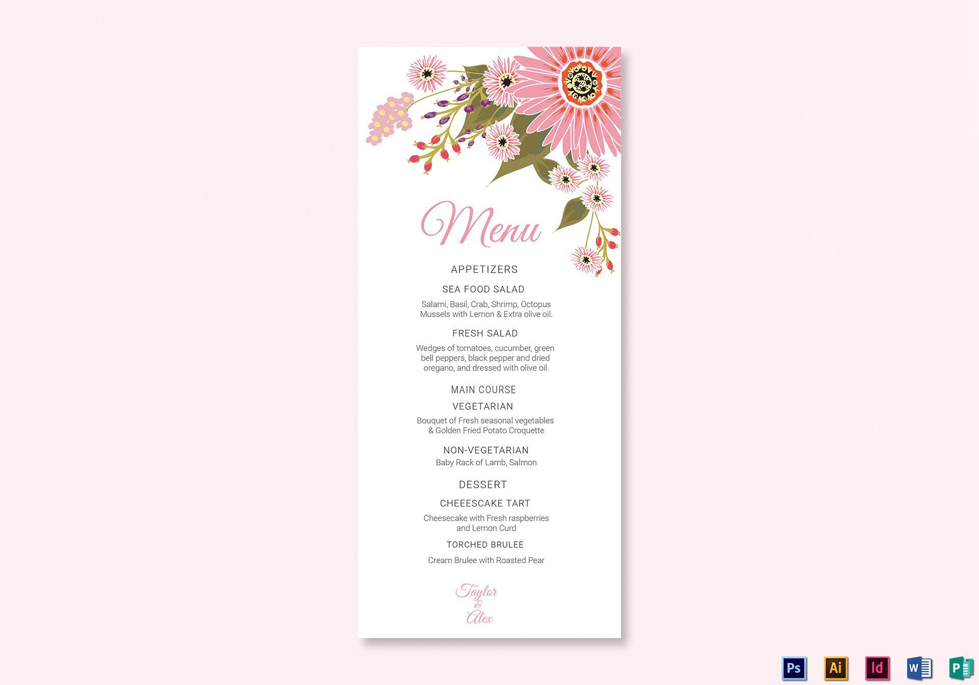 007 Awesome Wedding Menu Card Template Word Sample Full