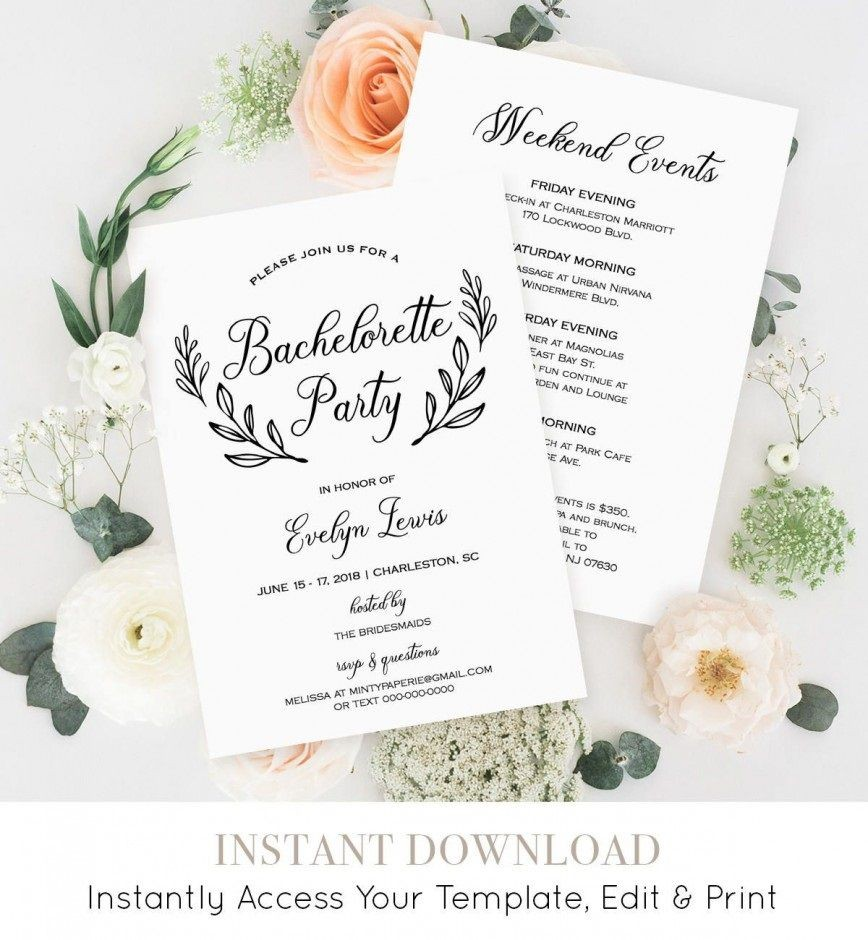 007 Awful Bachelorette Itinerary Template Free Image  Editable Download