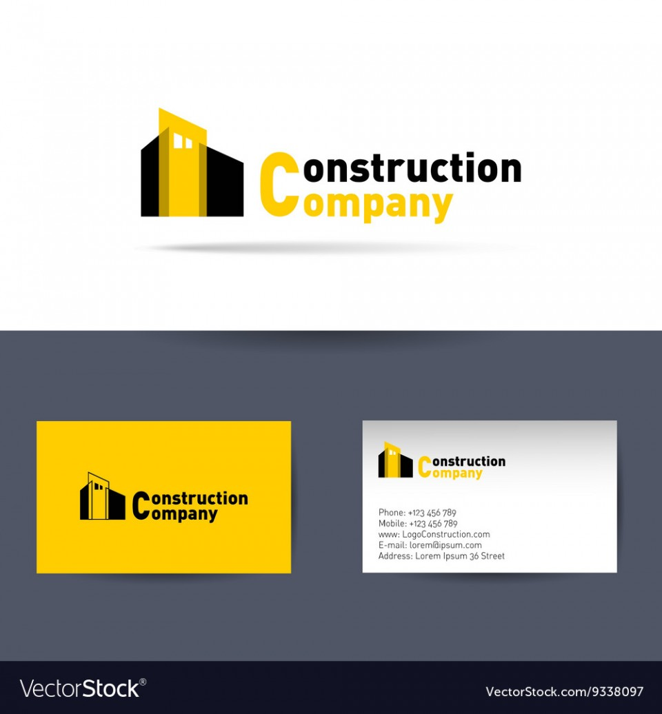007 Awful Construction Busines Card Template Idea  Company Visiting Format Word For Material960