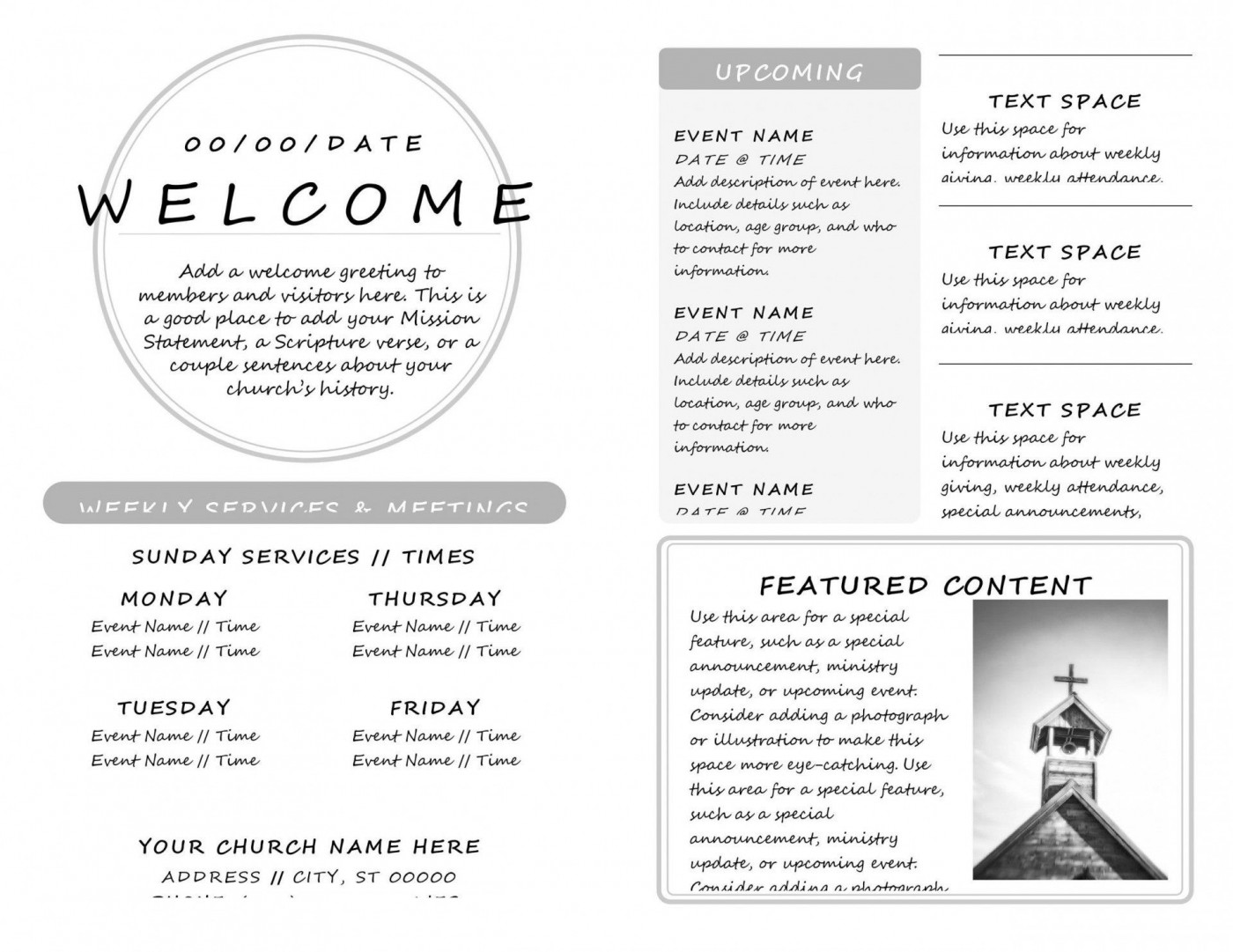 007 Awful Free Church Program Template Doc Highest Quality 1400