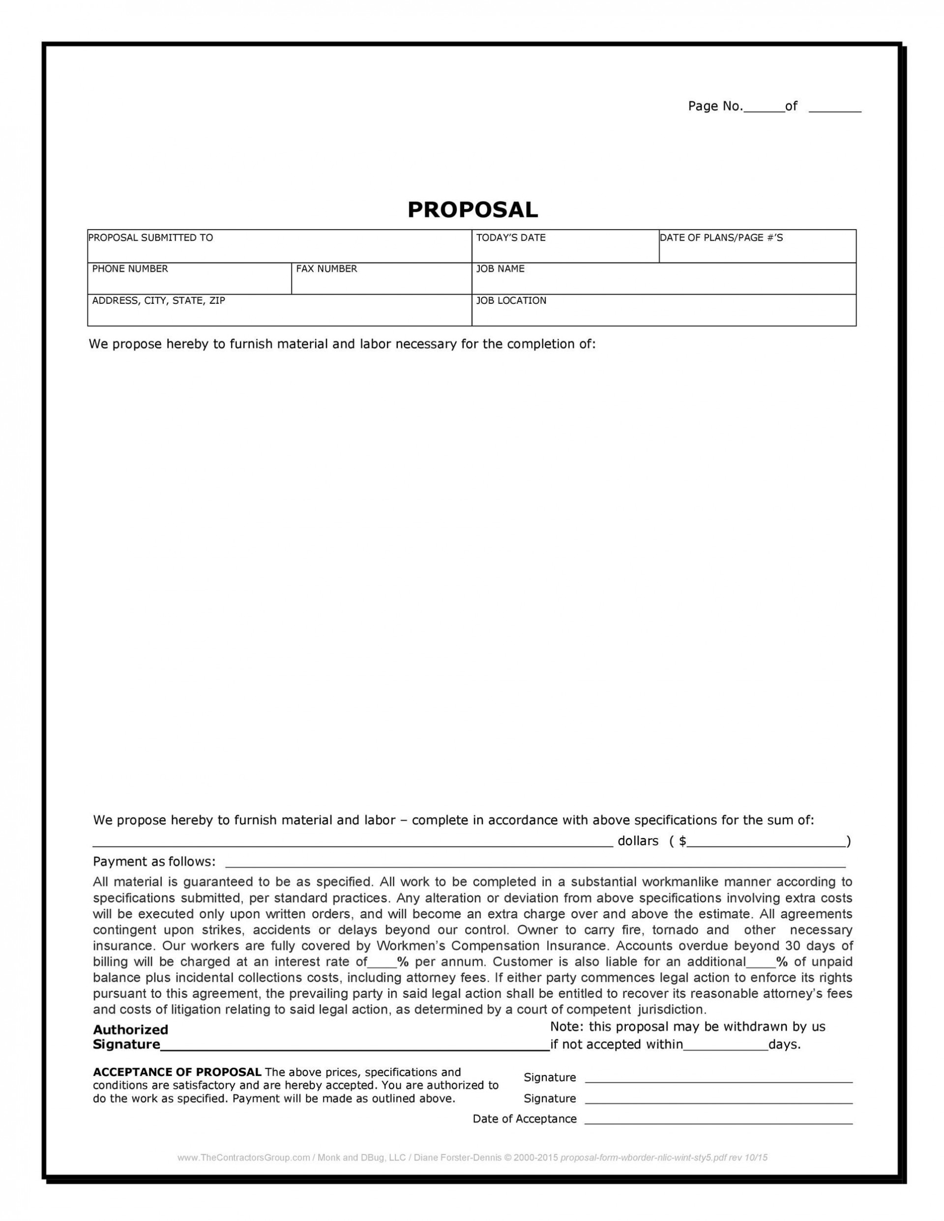 007 Awful Free Construction Proposal Template Idea  Bid Contractor Word1920