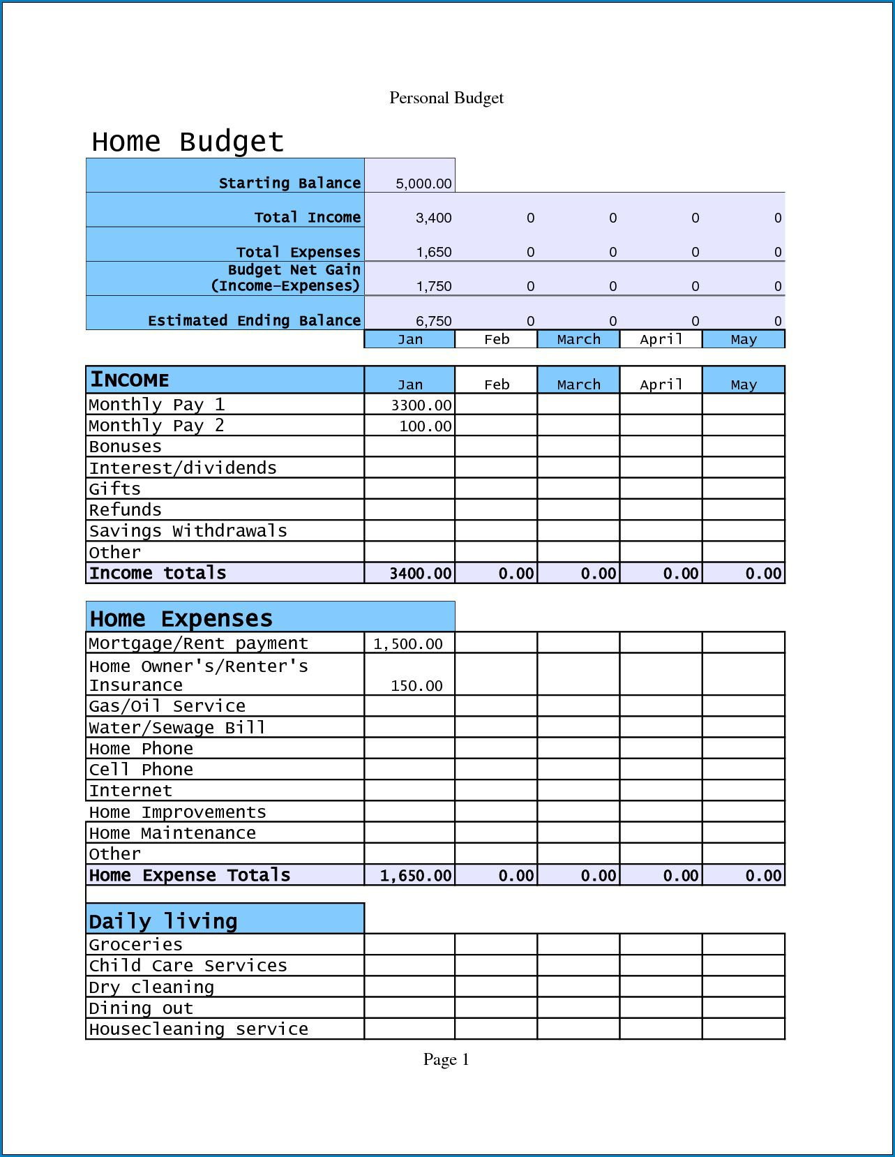 007 Awful Free Household Budget Template Idea  Templates Printable Form Home ExcelFull