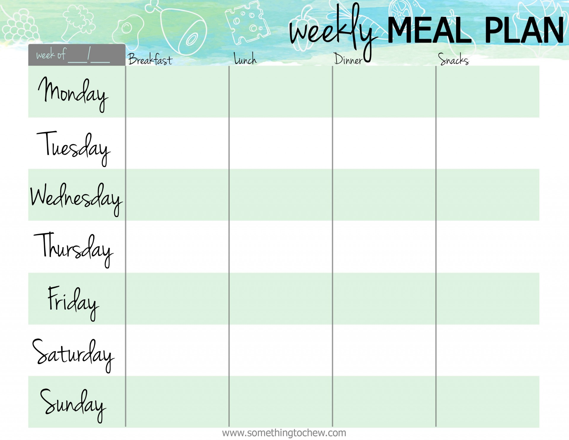 007 Awful Free Meal Planner Template Pdf Idea  Weekly With Grocery List Monthly1920