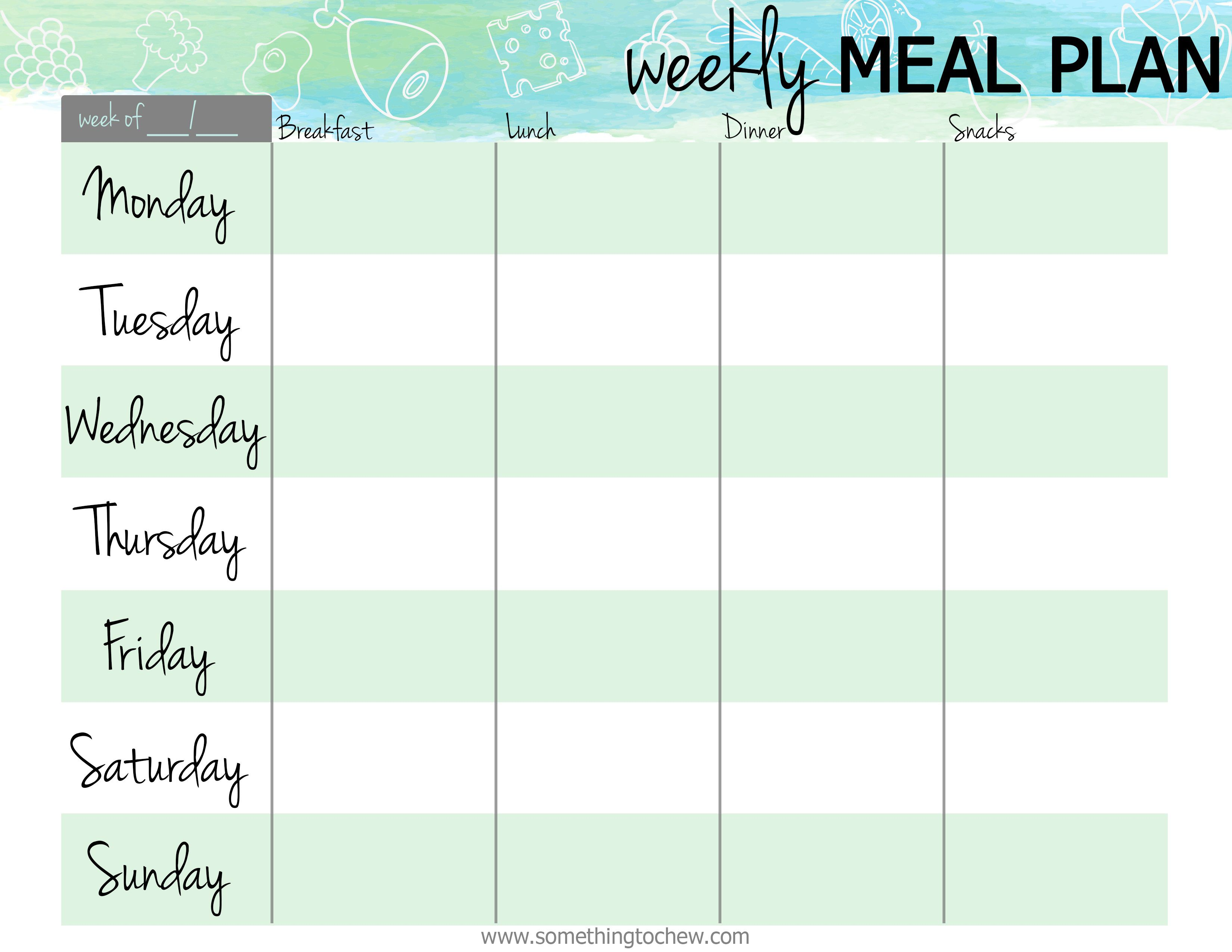 007 Awful Free Meal Planner Template Pdf Idea  Weekly With Grocery List MonthlyFull