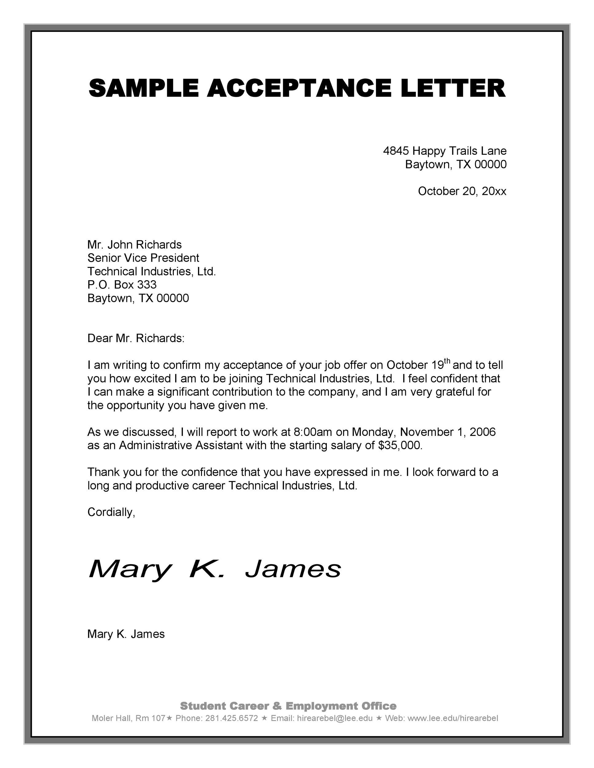 Letter Of Acceptance Job Offer from www.addictionary.org