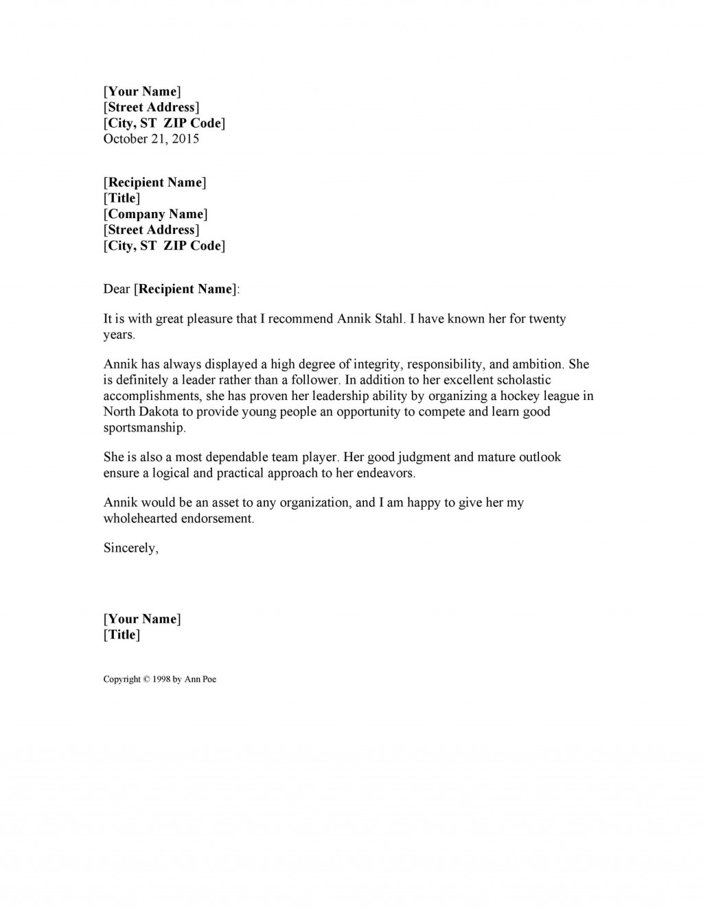 007 Awful Personal Letter Of Recommendation Template Highest Quality  Sample Character Reference AssistantLarge
