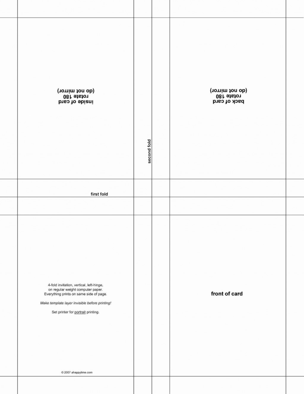 007 Awful Quarter Fold Greeting Card Template Word High Def Large