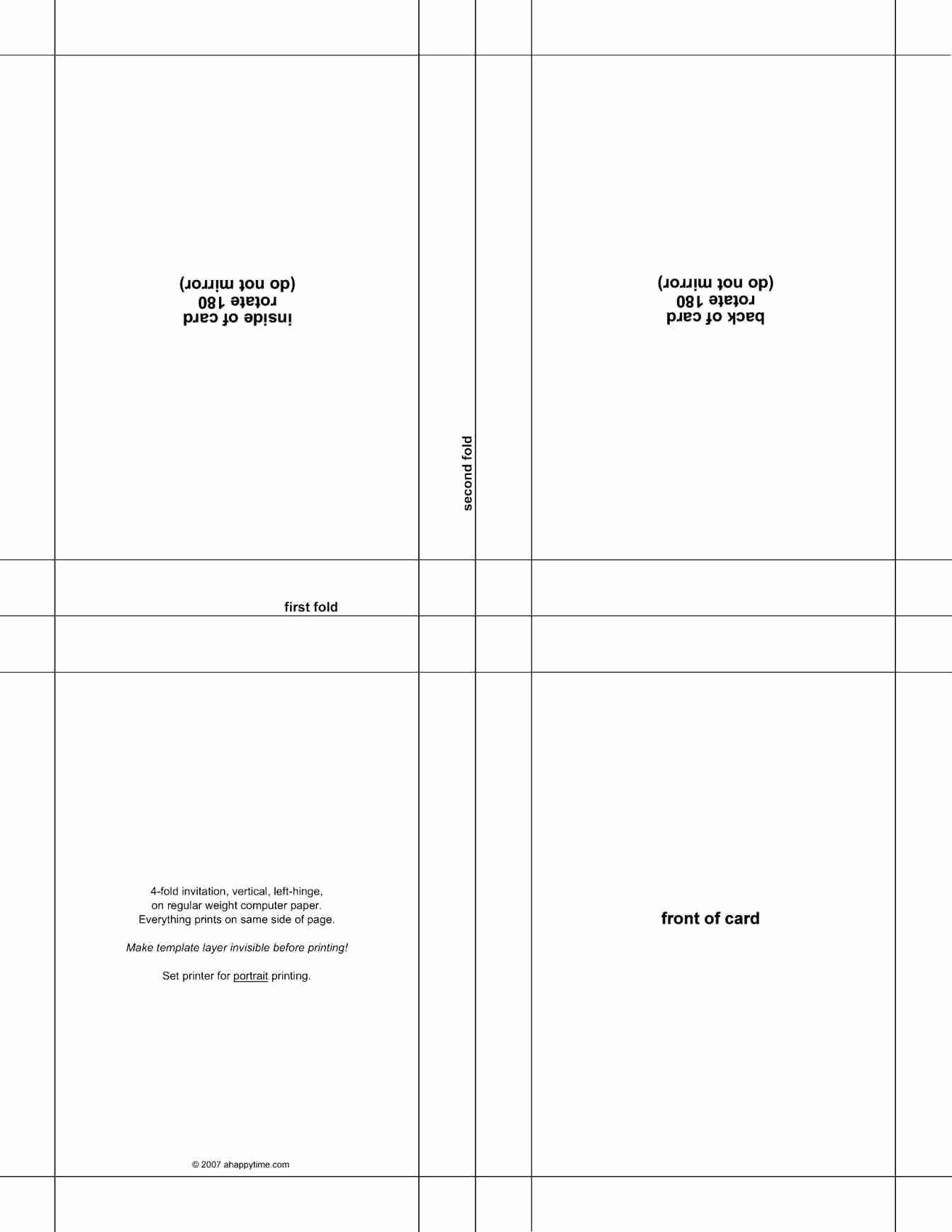 007 Awful Quarter Fold Greeting Card Template Word High Def Full