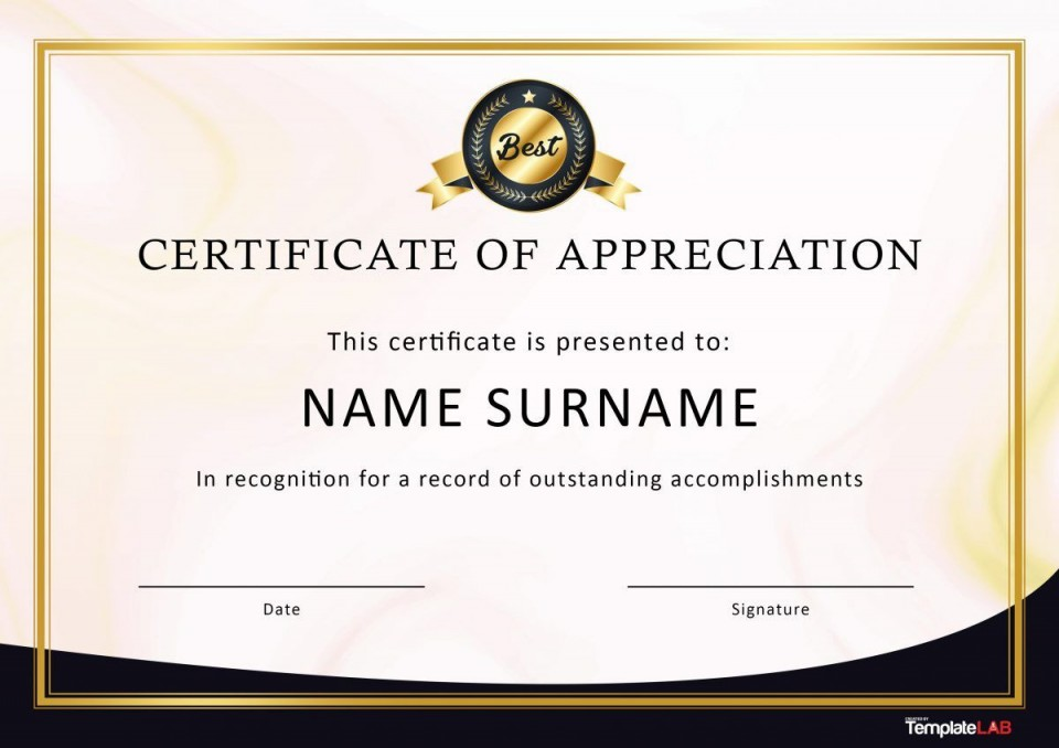 007 Awful Recognition Certificate Template Free Picture  Employee Award Of Download Word960