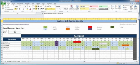 007 Awful Work Schedule Calendar Template Excel Picture 480