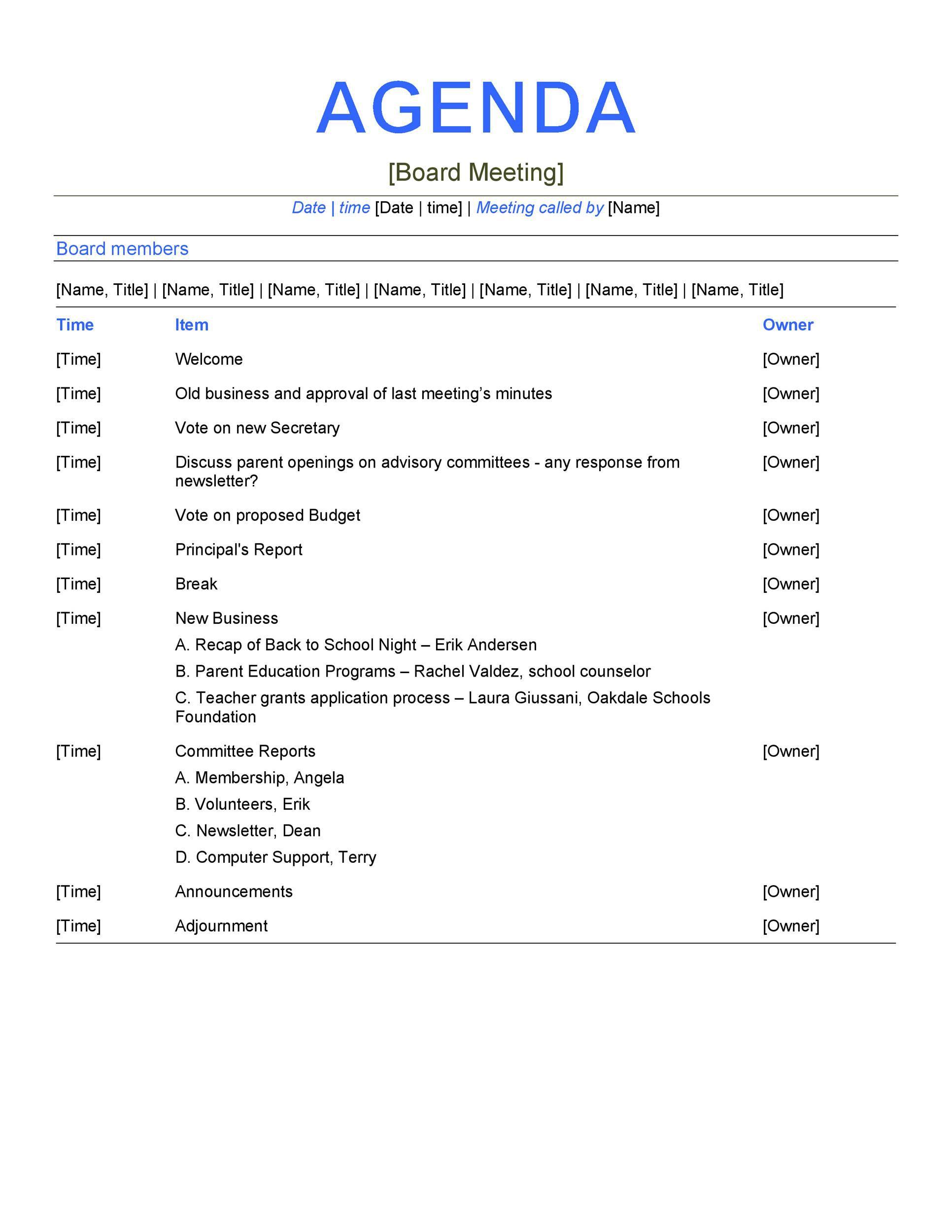 Board Meeting Agenda Template Addictionary