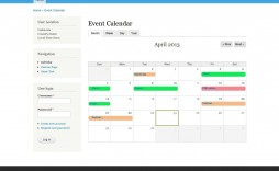 007 Beautiful Free Event Calendar Template Highest Quality  Html For Website