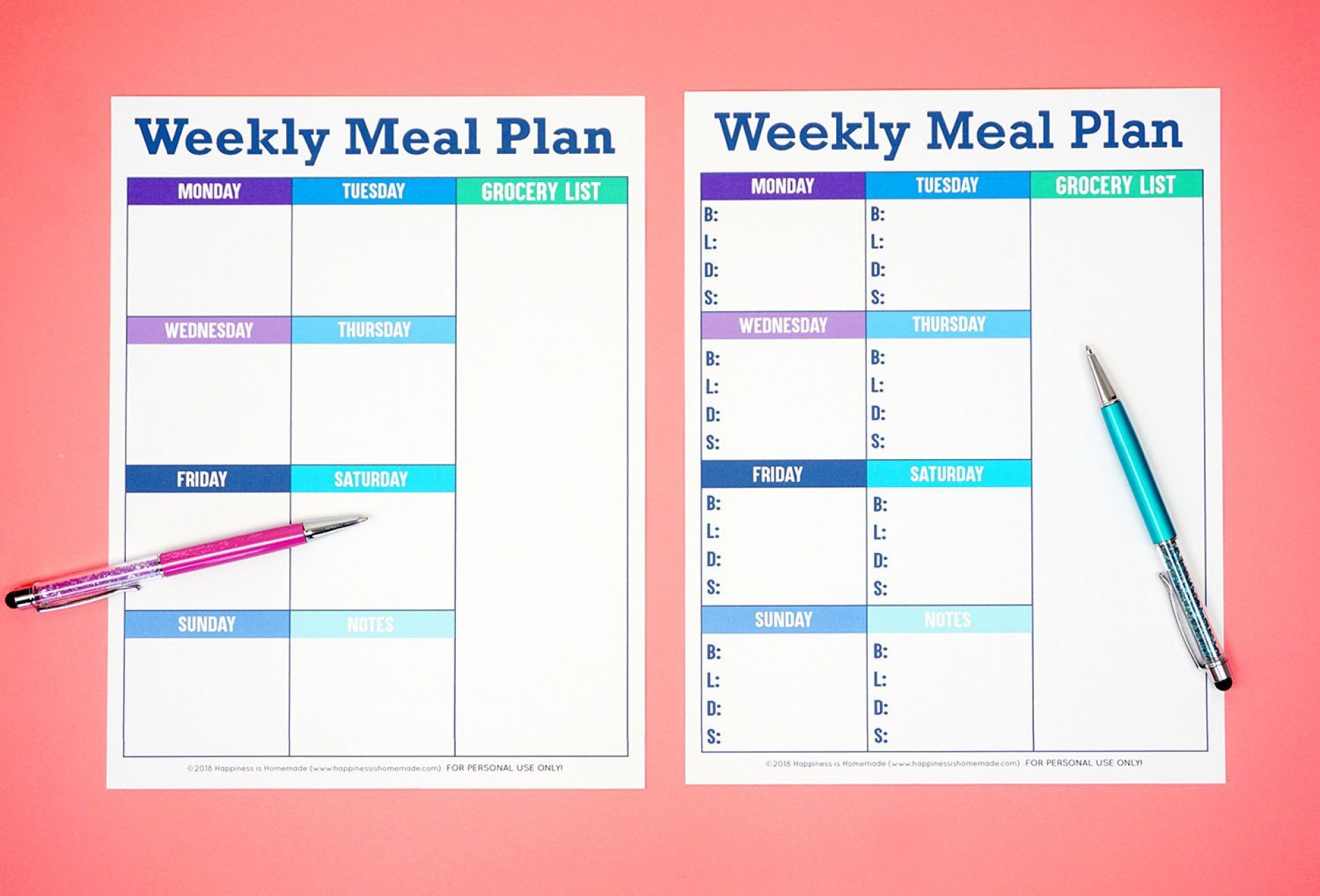 007 Beautiful Free Food Planner Template Picture  Printable Weekly Meal With Grocery List Diary Download Editable Word1920