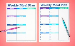 007 Beautiful Free Food Planner Template Picture  Printable Weekly Meal With Grocery List Diary Download Editable Word