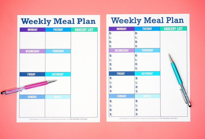 007 Beautiful Free Food Planner Template Picture  Menu With Grocery List Printable Journal Diet